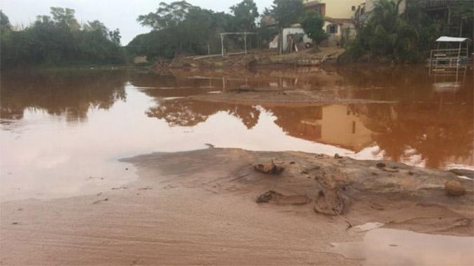 Peixes mortos sufocados pela lama, que se solidifica no rio Doce em Governador Valadares, Minas Gerais. Foto: BBC Brasil